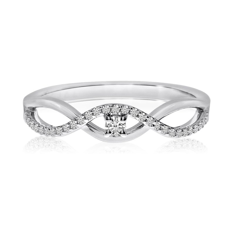 Color Merchants 14k White Gold Stacking Wave Diamond Ring