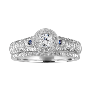 14KW 5/8cttw Round Halo with Sapphires Bridal Set