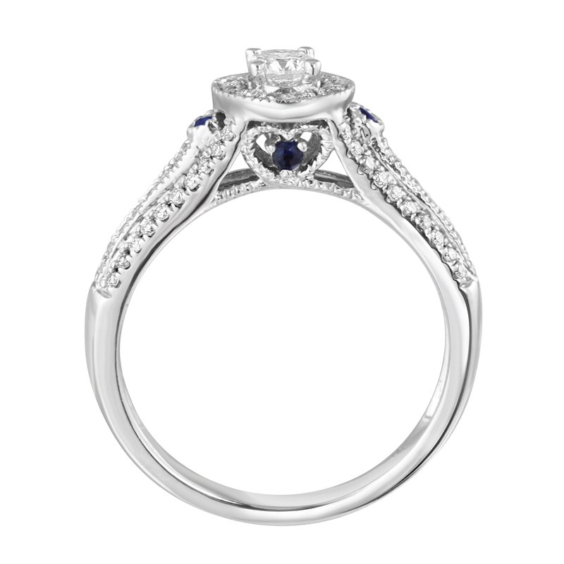 Blissful Bride 14KW 5/8cttw Round Halo with Sapphires Bridal Set
