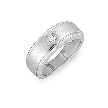 14K WG Diamond Square Solitaire Ladies Ring-His and He