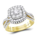 Kingdom Treasures 14kt Yellow Gold Womens Round Diamond Halo Bridal Wedding Engagement Ring Band Set 1.00 Cttw