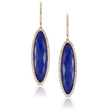 Royal Lapis & Diamond Dangle Earrings 18KY