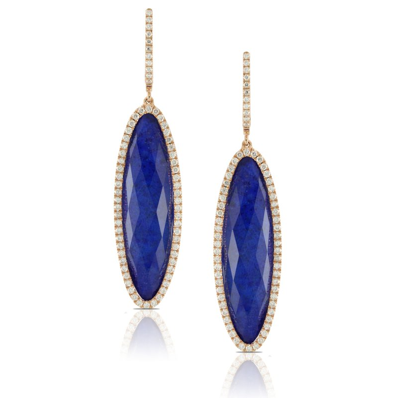 Doves Royal Lapis & Diamond Dangle Earrings 18KY