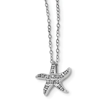 Sterling Silver Diamond Mystique Starfish 18in Necklace