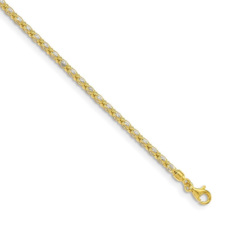 Quality Gold Sterling Silver Gold-tone Enclosed CZ Chain Bracelet