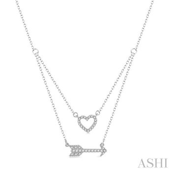 heart shape & arrow diamond layered pendant