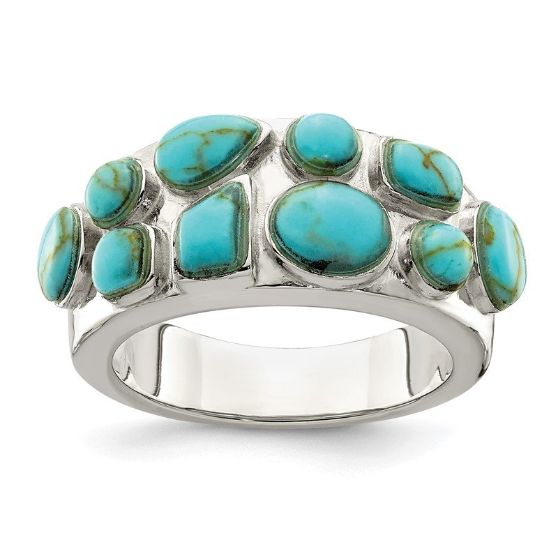 Quality Gold Sterling Silver Synthetic Turquoise Inlay Ring