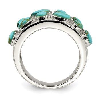 Sterling Silver Synthetic Turquoise Inlay Ring