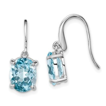 Sterling Silver Rhodium Light Swiss Blue Topaz Wire Earrings