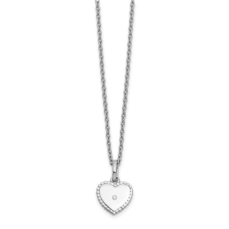 Quality Gold SS White Ice Diamond Heart Necklace