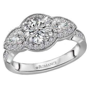 3-stone Diamond Semi Mount Ring
