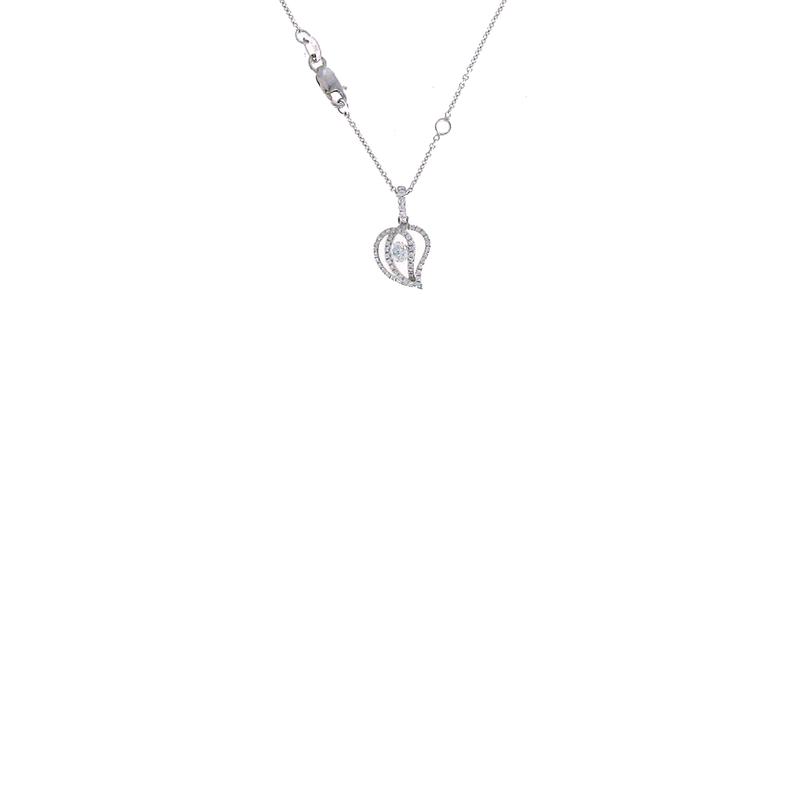 Roberto Coin 18KT WHITE GOLD DIAMOND LEAF PENDANT