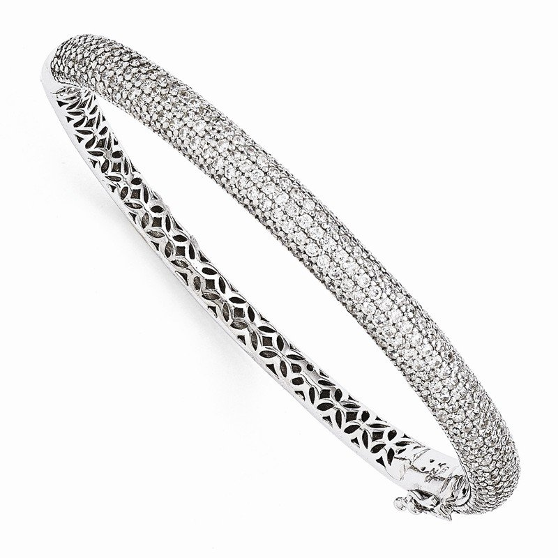 Quality Gold Sterling Silver Pav? Rhodium-plated 283 Stone CZ Bangle