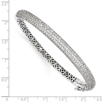 Sterling Silver Pav? Rhodium-plated 283 Stone CZ Bangle