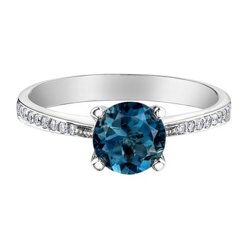 London Blue Topaz Ladies Engagement Ring