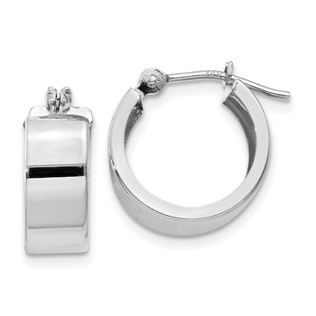 14k White Gold Polished 5mm Flat Hoops