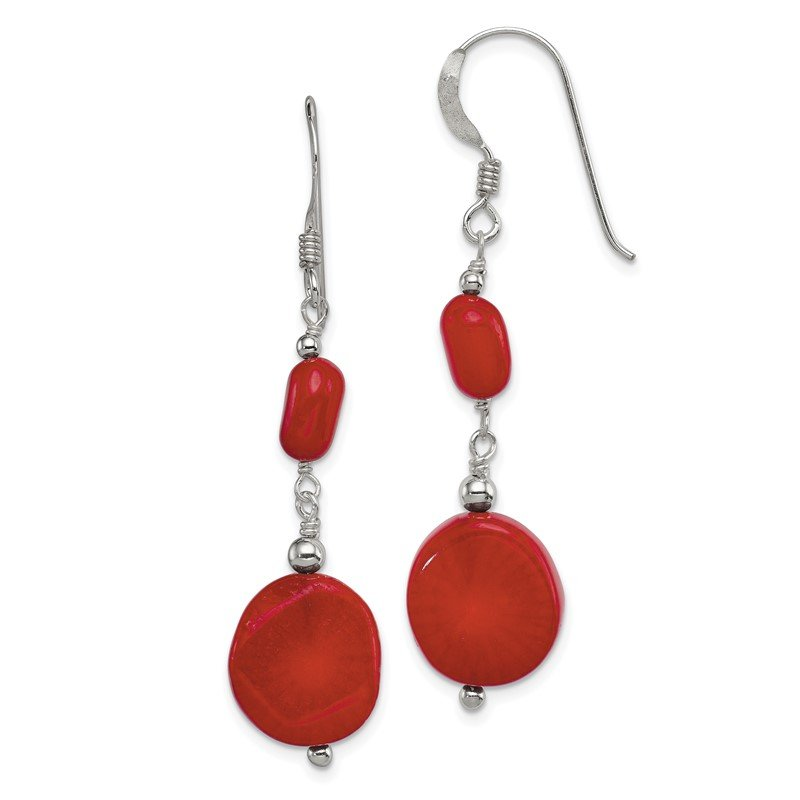 Quality Gold Sterling Silver Red Coral Earrings