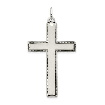 Sterling Silver Oxidized Cross w/ Prayer on Back Pendant