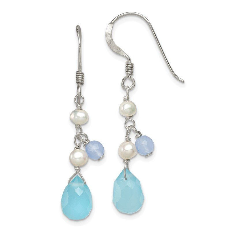 Quality Gold Sterling Silver Blue Topaz/Blue Agate/FW Cultured Pearl Earrings