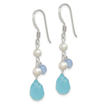 Sterling Silver Blue Topaz/Blue Agate/FW Cultured Pearl Earrings
