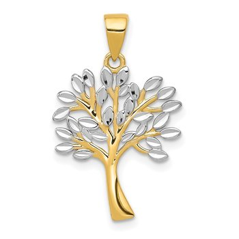 14K w/Rhodium Diamond Cut Tree Pendant