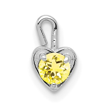 14k White Gold November Synthetic Birthstone Heart Charm