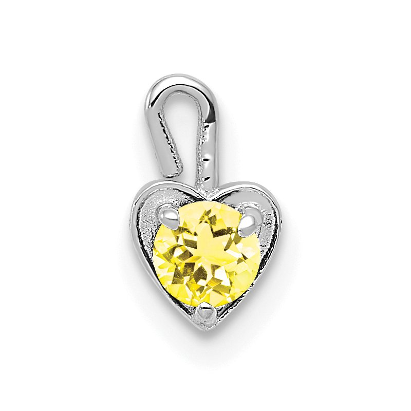 Quality Gold 14k White Gold November Synthetic Birthstone Heart Charm