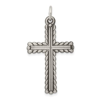 Sterling Silver Antiqued, Textured and Brushed Latin Cross Pendant