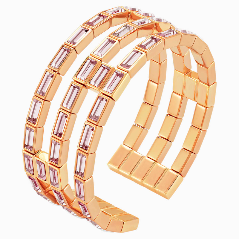 Swarovski Fluid Cuff, Violet, Rose-gold tone plated