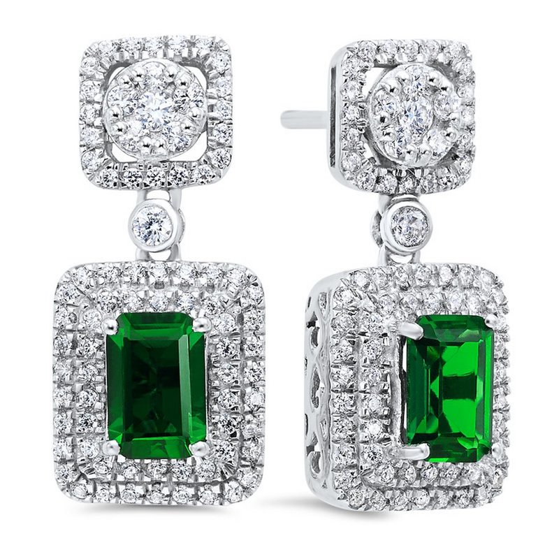 Gemsone Silver Created Emerald Earring