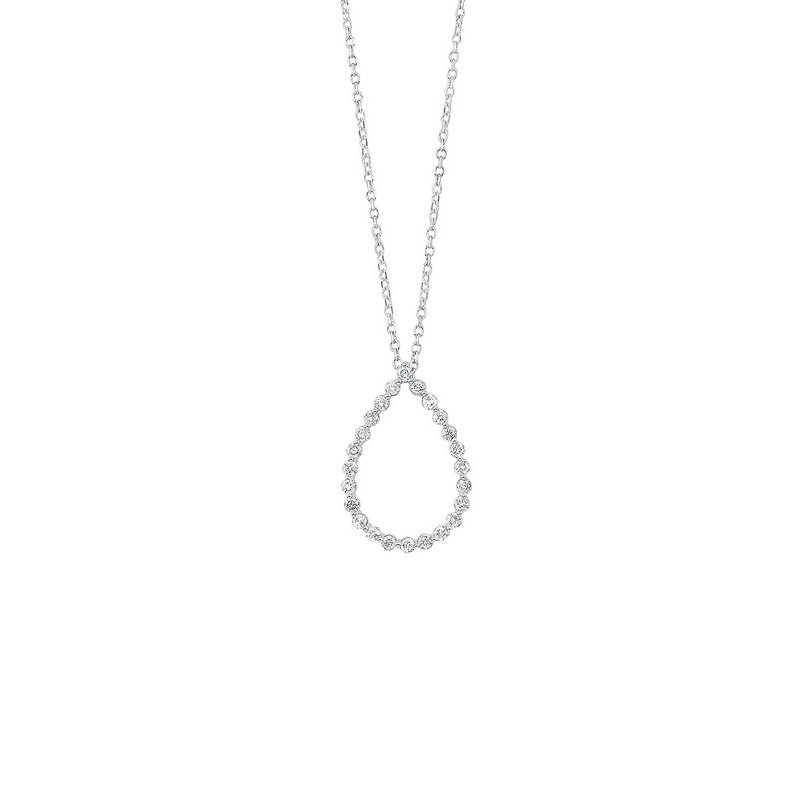 Gems One Diamond Eternity Floating Teardrop Pendant Necklace in 14k White Gold (1/4ctw)