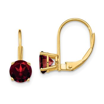 14k 6mm Garnet Leverback Earrings