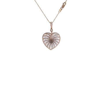 18Kt Rose Gold Diamond Heart Necklace