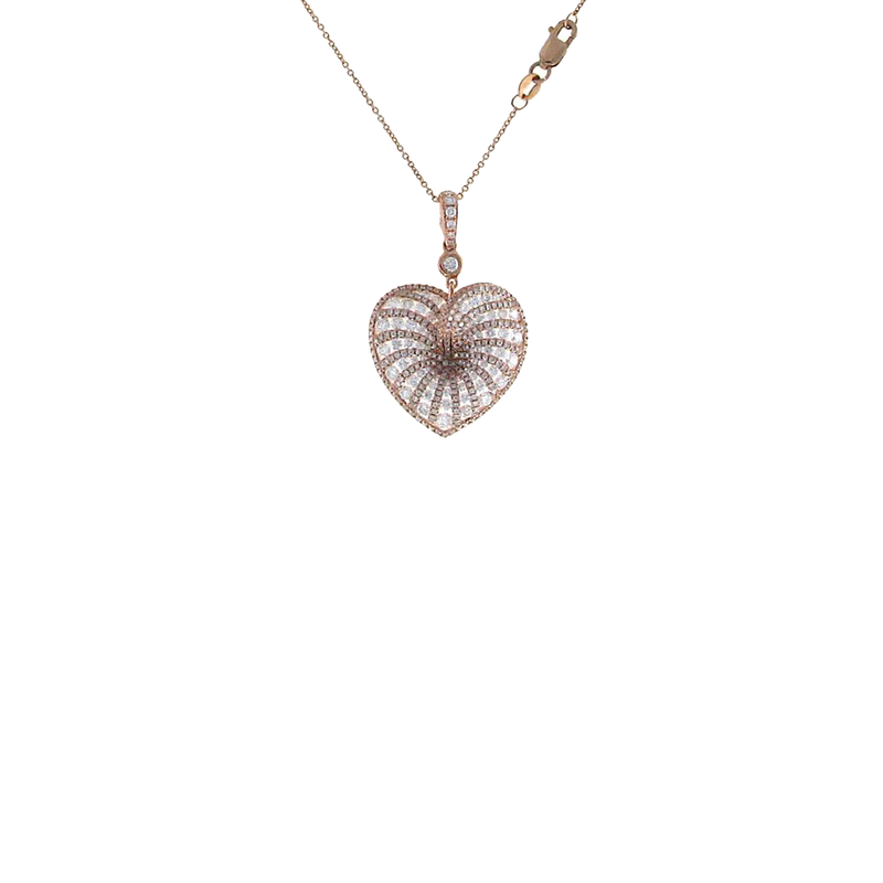 Roberto Coin 18Kt Rose Gold Diamond Heart Necklace