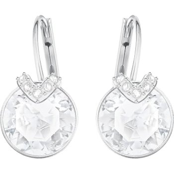 Bella V Pierced Earrings, White, Rhodium plated