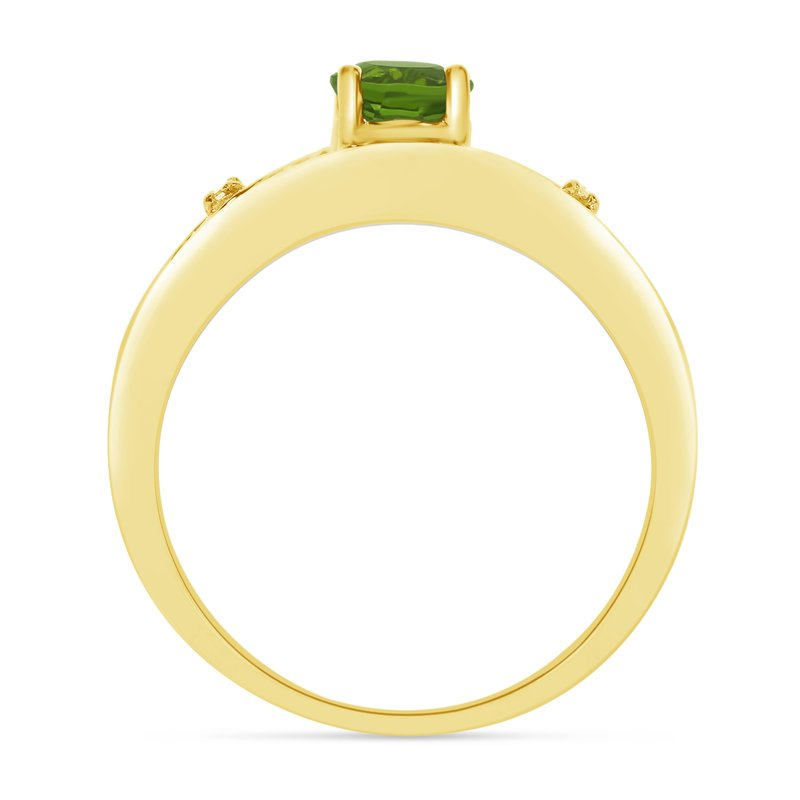 Color Merchants 14k Yellow Gold Round Peridot And Diamond Ring