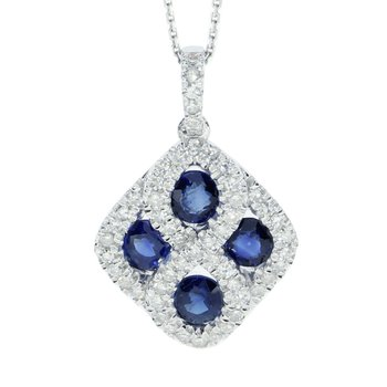 14k White Gold Sapphire and .26 ct Diamond Pendant