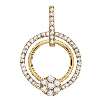 10kt Yellow Gold Womens Round Diamond Circle Cluster Pendant 3/8 Cttw