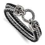 Chisel Stainless Steel Antiqued & Polished Leather/Cotton Braided 8in Bracelet