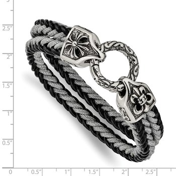 Stainless Steel Antiqued & Polished Leather/Cotton Braided 8in Bracelet