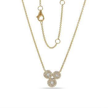 "14K 3 circles necklace with 79 Diamonds 0.27C 18"" lenght"