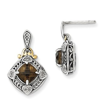 Sterling Silver w/14k Diamond & Smoky Quartz Earrings