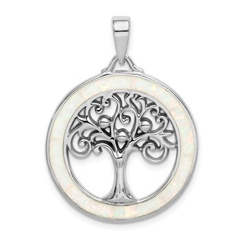 Sterling Silver Rhodium-plated Created Opal Circle w/Tree Pendant
