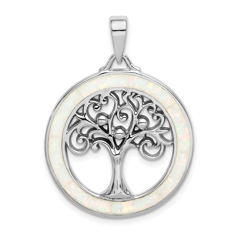 Quality Gold Sterling Silver Rhodium-plated Created Opal Circle w/Tree Pendant