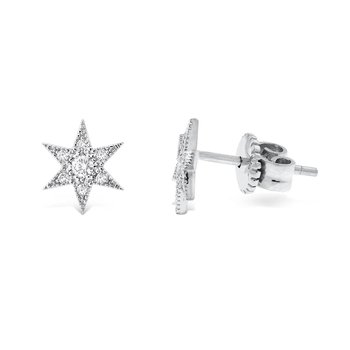 Diamond Starburst Earrings in 14K White Gold with 14 Diamonds Weighing .17 ct tw