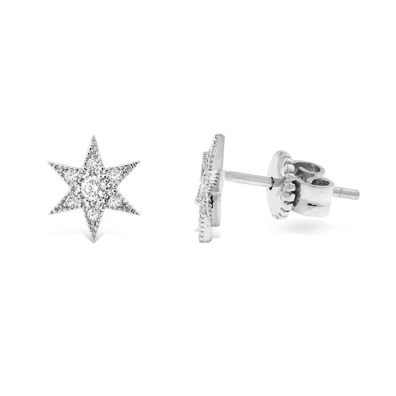 KC Designs Diamond Starburst Earrings in 14K White Gold with 14 Diamonds Weighing .17 ct tw