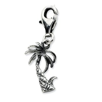 Sterling Silver Amore La Vita Rhodium-pl 3-D Antiqued Palm Tree Charm