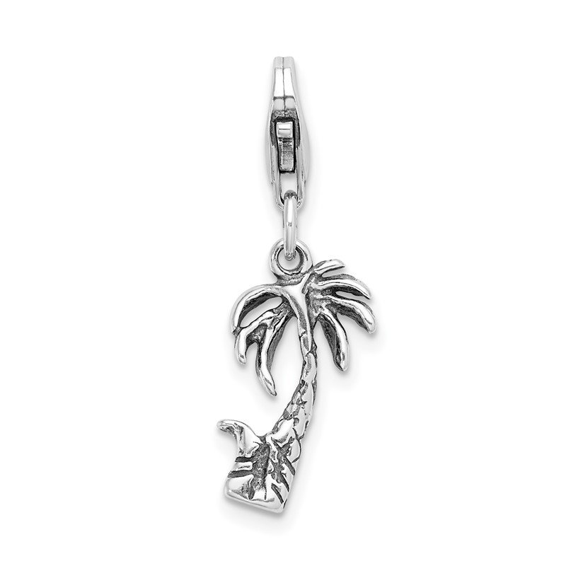 Quality Gold Sterling Silver 3-D Antiqued Palm Tree w/Lobster Clasp Charm