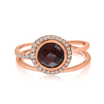 14k Rose Gold Round Bezel Garnet and Diamond Ring