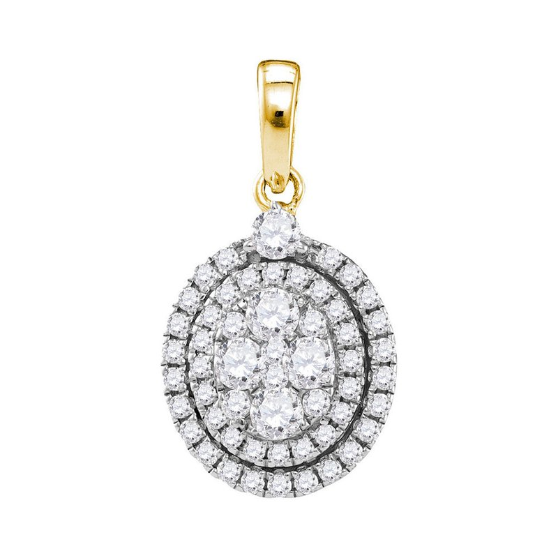 Gold-N-Diamonds, Inc. (Atlanta) 14kt Yellow Gold Womens Round Diamond Oval Cluster Pendant 1.00 Cttw